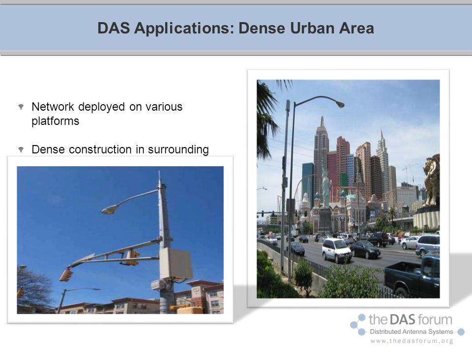 DAS Applications: Dense Urban Area Network deployed on various platforms Dense construction in surrounding areas