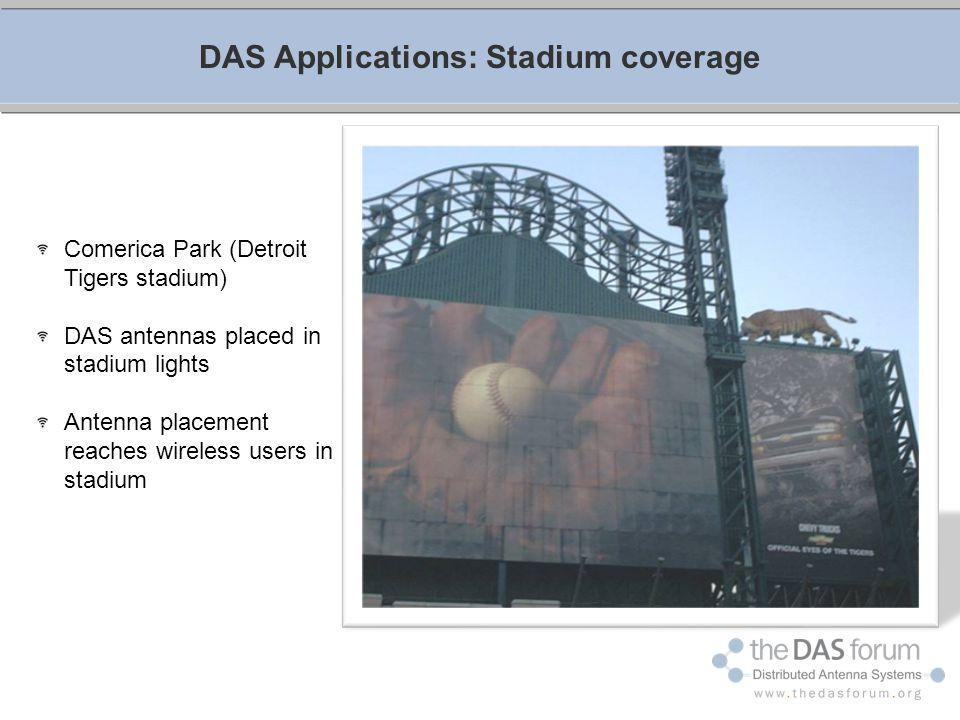 DAS Applications: Stadium coverage Comerica Park (Detroit Tigers stadium) DAS antennas placed in stadium lights Antenna placement reaches wireless use