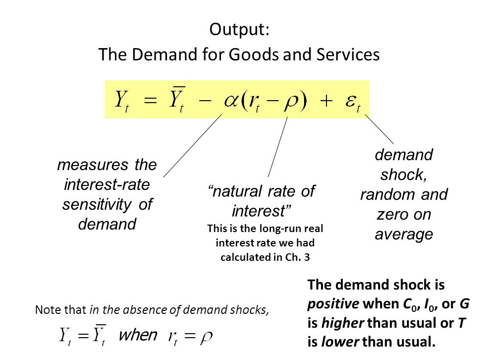 Output: The Demand for Goods and Services demand shock, random and zero on average measures the interest-rate sensitivity of demand natural rate of interest Note that in the absence of demand shocks, when The demand shock is positive when C 0, I 0, or G is higher than usual or T is lower than usual.