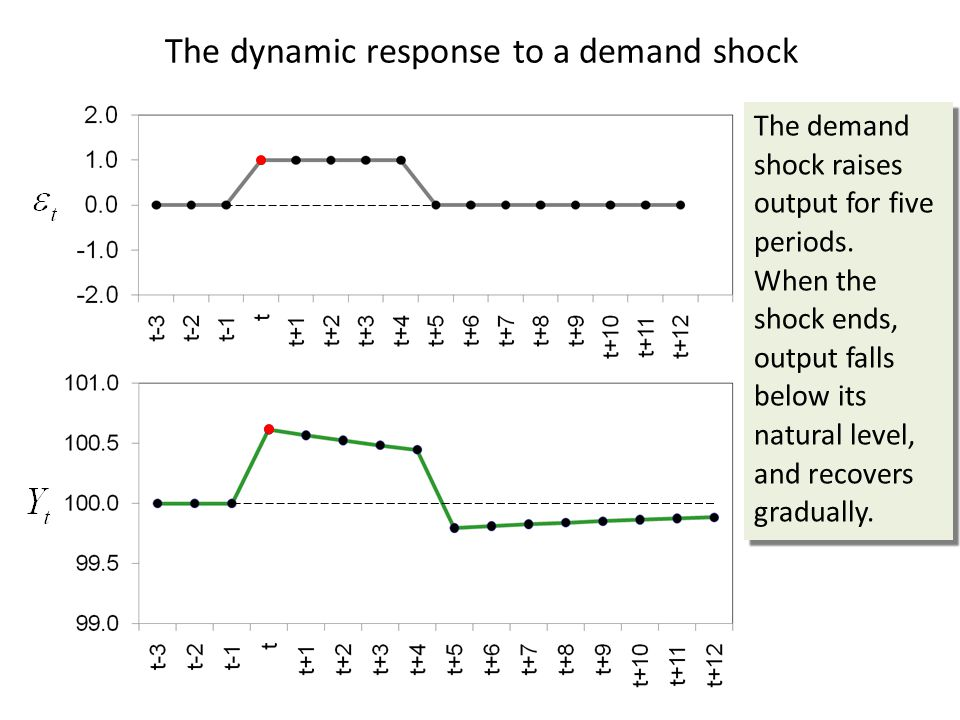 The dynamic response to a demand shock The demand shock raises output for five periods.