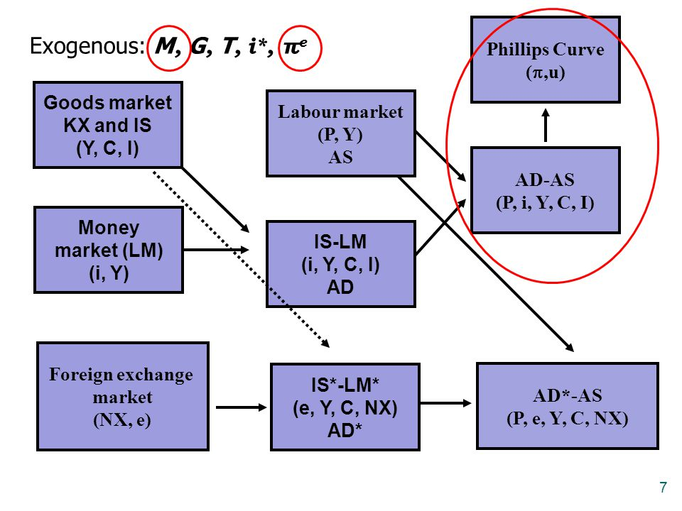 7 Goods market KX and IS (Y, C, I) Money market (LM) (i, Y) IS-LM (i, Y, C, I) AD Labour market (P, Y) AS AD-AS (P, i, Y, C, I) Phillips Curve ( ,u) Foreign exchange market (NX, e) AD*-AS (P, e, Y, C, NX) Exogenous: M, G, T, i*, π e IS*-LM* (e, Y, C, NX) AD*