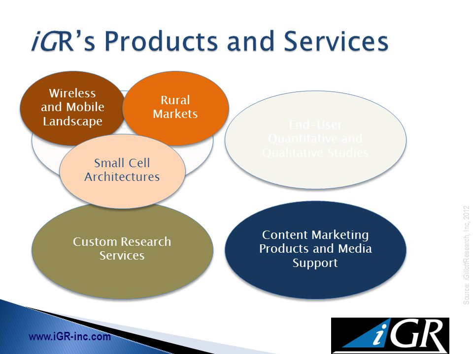 www.iGR-inc.com Source: iGillott Research, Inc, 2012 Market Research & Subscription Services End-User Quantitative and Qualitative Studies Custom Research Services Content Marketing Products and Media Support Wireless and Mobile Landscape Rural Markets Small Cell Architectures