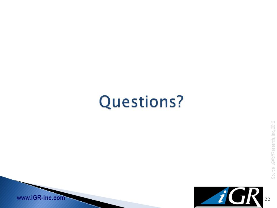 www.iGR-inc.com Source: iGillott Research, Inc, 2012 22 Questions