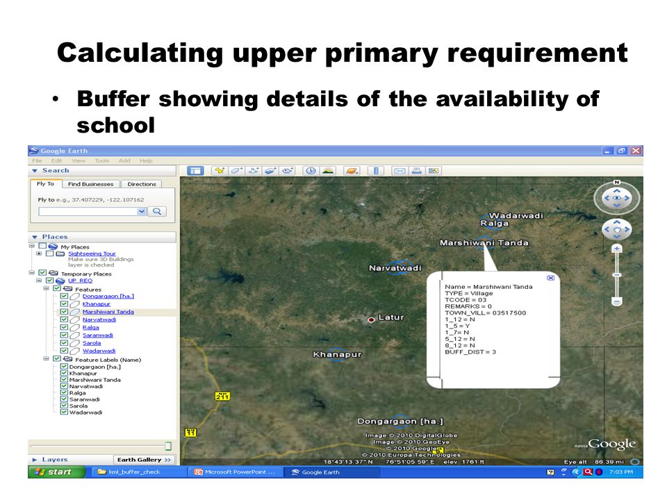Calculating upper primary requirement Buffer showing details of the availability of school