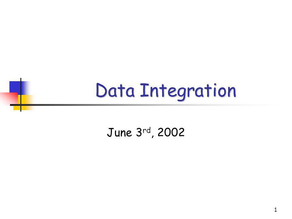 1 Data Integration June 3 rd, 2002