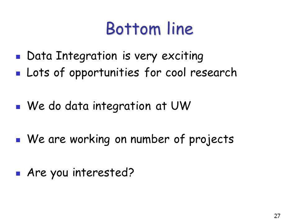 27 Bottom line Data Integration is very exciting Lots of opportunities for cool research We do data integration at UW We are working on number of projects Are you interested