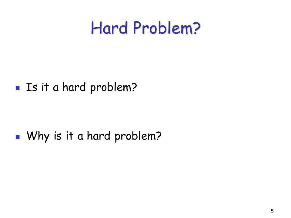 5 Hard Problem Is it a hard problem Why is it a hard problem
