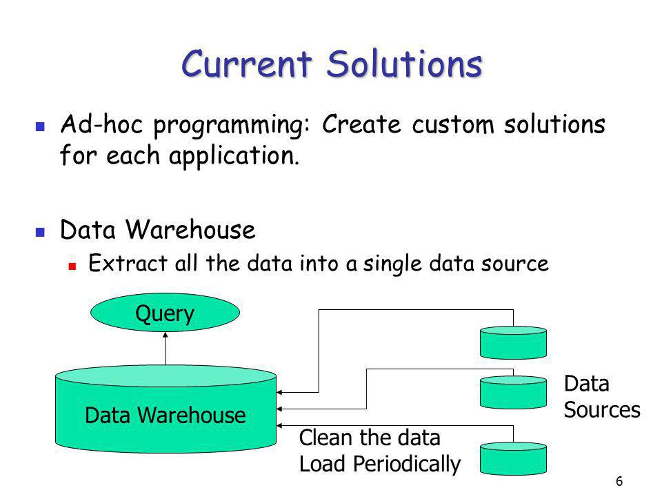 7 Problems with DW Approach Data has to be cleaned – different formats Needs to store all the data in all the data sources that will ever be asked for Expensive due to data cleaning and space requirements Data needs to be updated periodically Data sources are autonomous – content can change without notice Expensive because of the large quantities of data and data cleaning costs