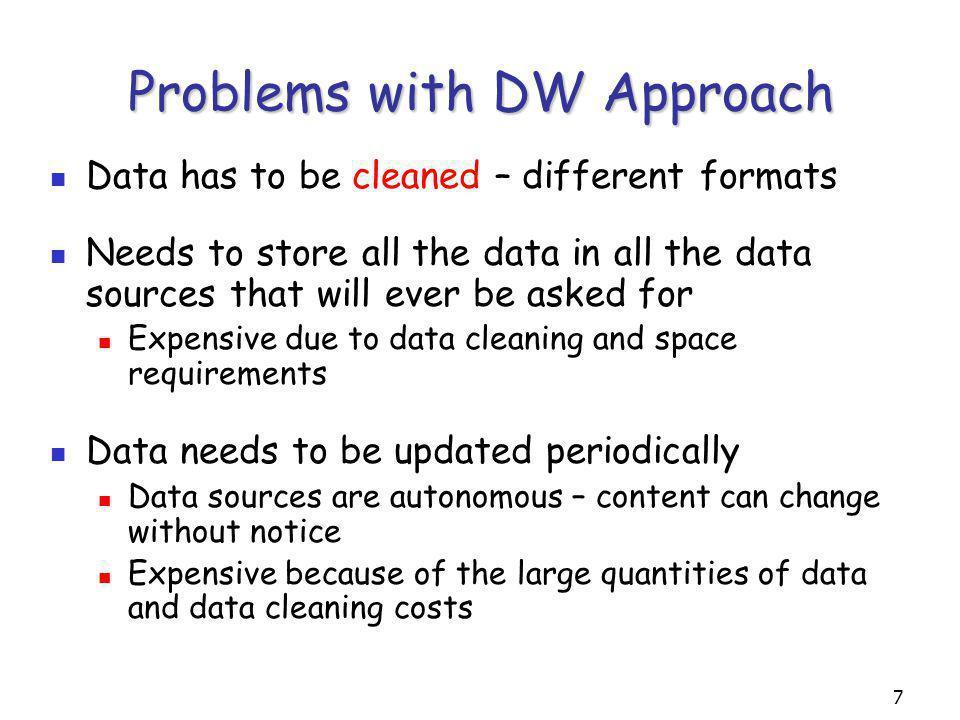 8 Virtual Integration Data Source Wrapper Mediator: User Queries Mediated schema Data source catalog Reformulation engine Optimizer Execution engine Data Source Data Source Wrapper