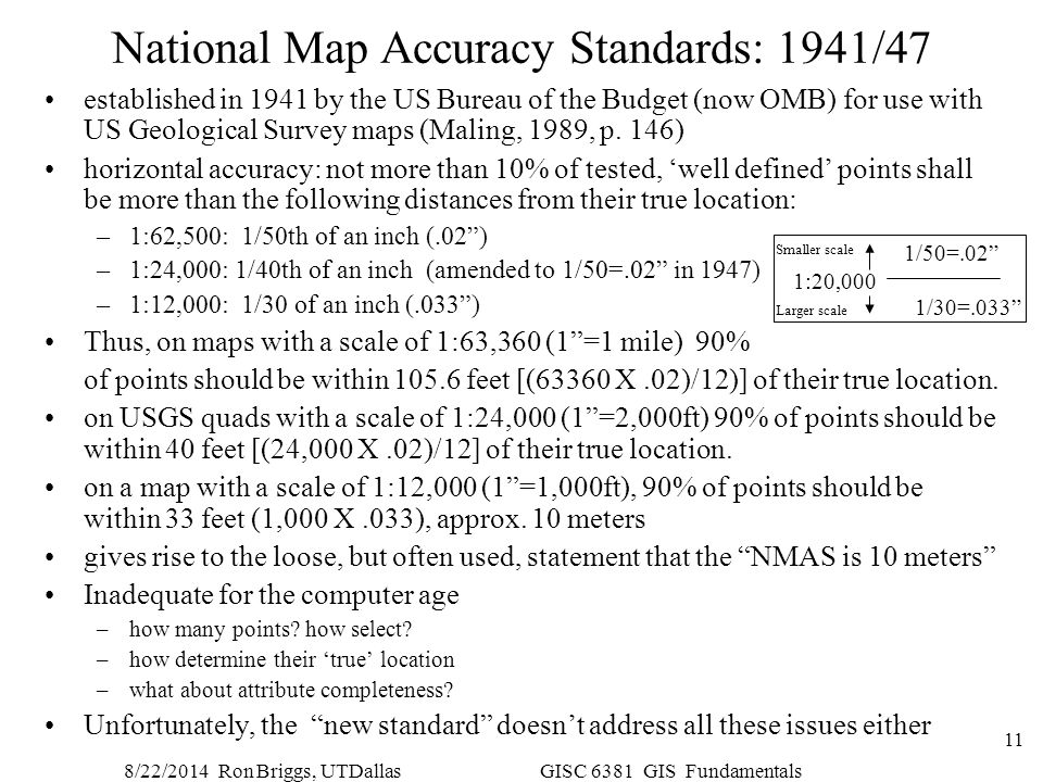 8/22/2014 Ron Briggs, UTDallas GISC 6381 GIS Fundamentals 11 National Map Accuracy Standards: 1941/47 established in 1941 by the US Bureau of the Budg