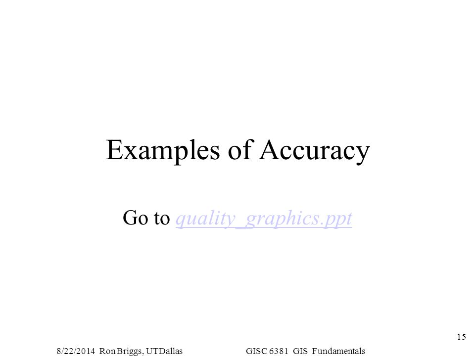 8/22/2014 Ron Briggs, UTDallas GISC 6381 GIS Fundamentals 15 Examples of Accuracy Go to quality_graphics.pptquality_graphics.ppt