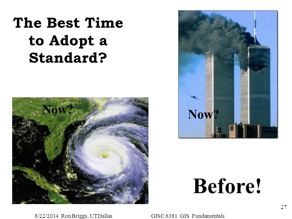 8/22/2014 Ron Briggs, UTDallas GISC 6381 GIS Fundamentals 27 The Best Time to Adopt a Standard? Before! Now?