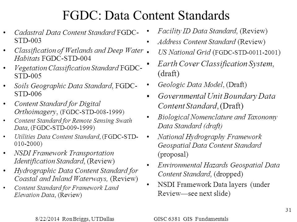 8/22/2014 Ron Briggs, UTDallas GISC 6381 GIS Fundamentals 31 FGDC: Data Content Standards Cadastral Data Content Standard FGDC- STD-003 Classification