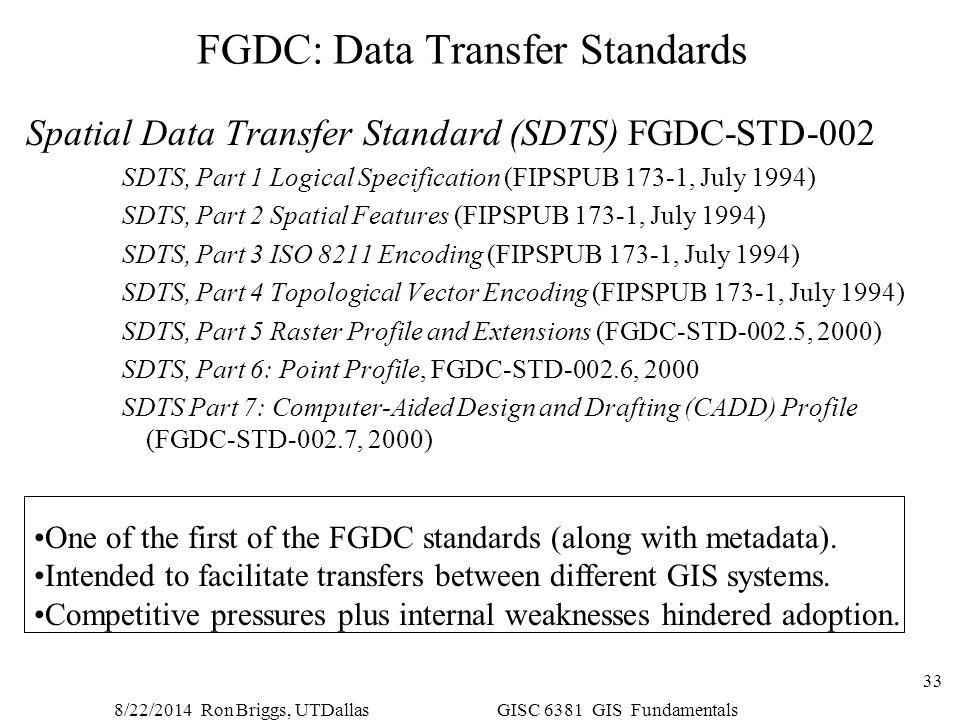 8/22/2014 Ron Briggs, UTDallas GISC 6381 GIS Fundamentals 33 FGDC: Data Transfer Standards Spatial Data Transfer Standard (SDTS) FGDC-STD-002 SDTS, Pa