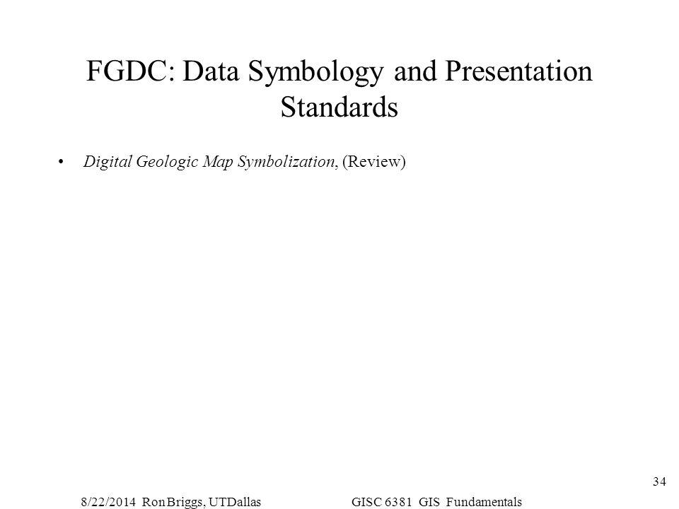 8/22/2014 Ron Briggs, UTDallas GISC 6381 GIS Fundamentals 34 FGDC: Data Symbology and Presentation Standards Digital Geologic Map Symbolization, (Revi
