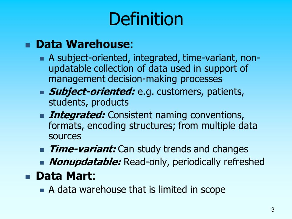 4 Need for Data Warehousing Integrated, company-wide view of high-quality information (from disparate databases) Separation of operational and informational systems and data (for improved performance)