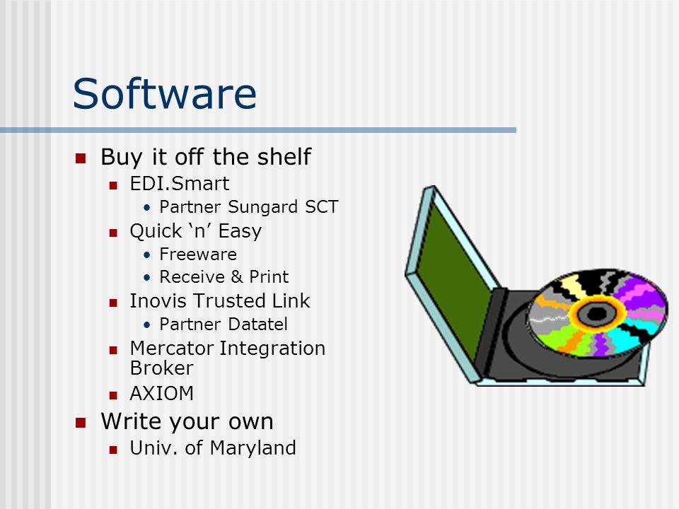 Software Buy it off the shelf EDI.Smart Partner Sungard SCT Quick 'n' Easy Freeware Receive & Print Inovis Trusted Link Partner Datatel Mercator Integration Broker AXIOM Write your own Univ.