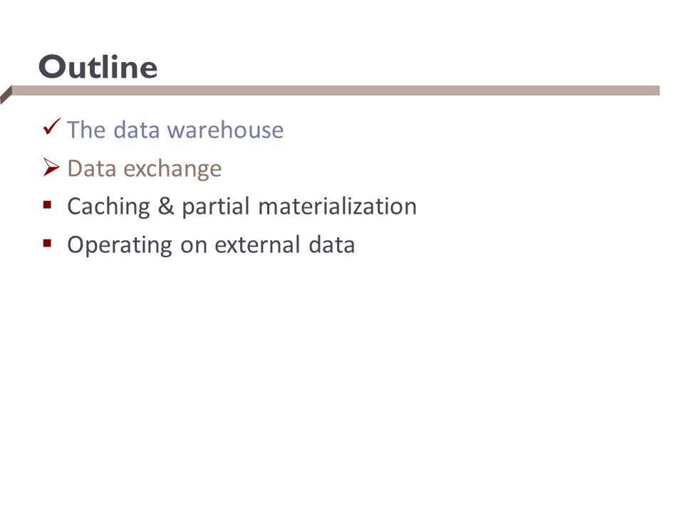 Outline The data warehouse  Data exchange  Caching & partial materialization  Operating on external data