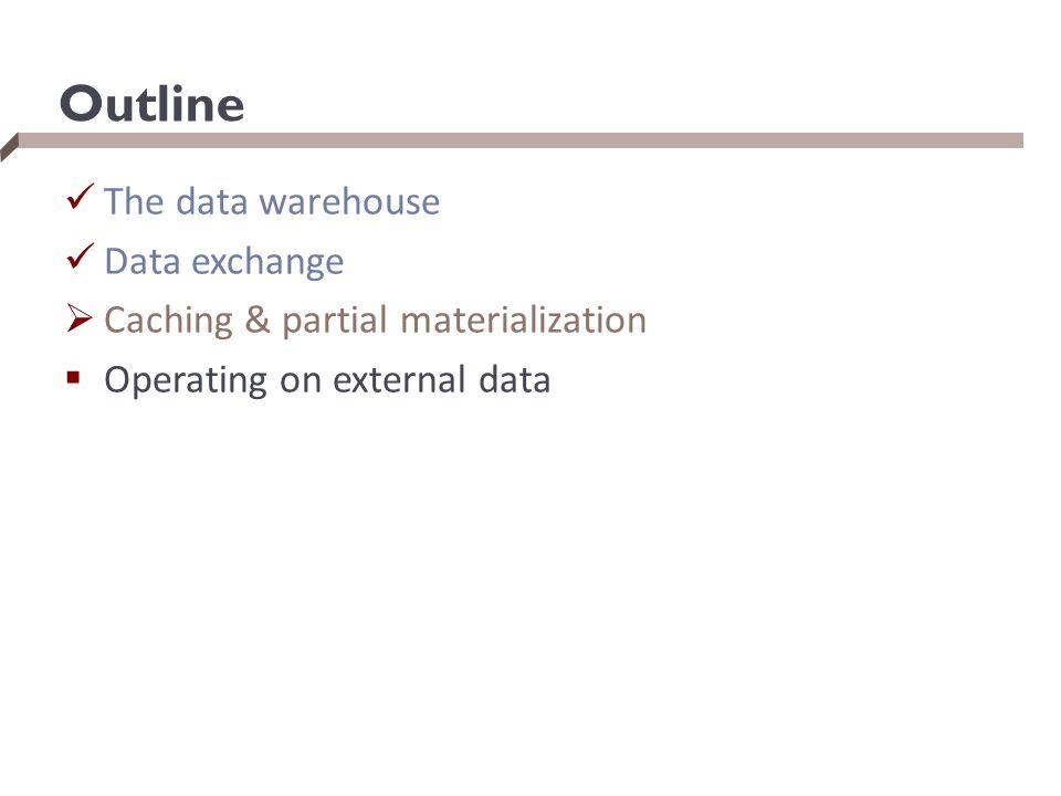 Outline The data warehouse Data exchange  Caching & partial materialization  Operating on external data