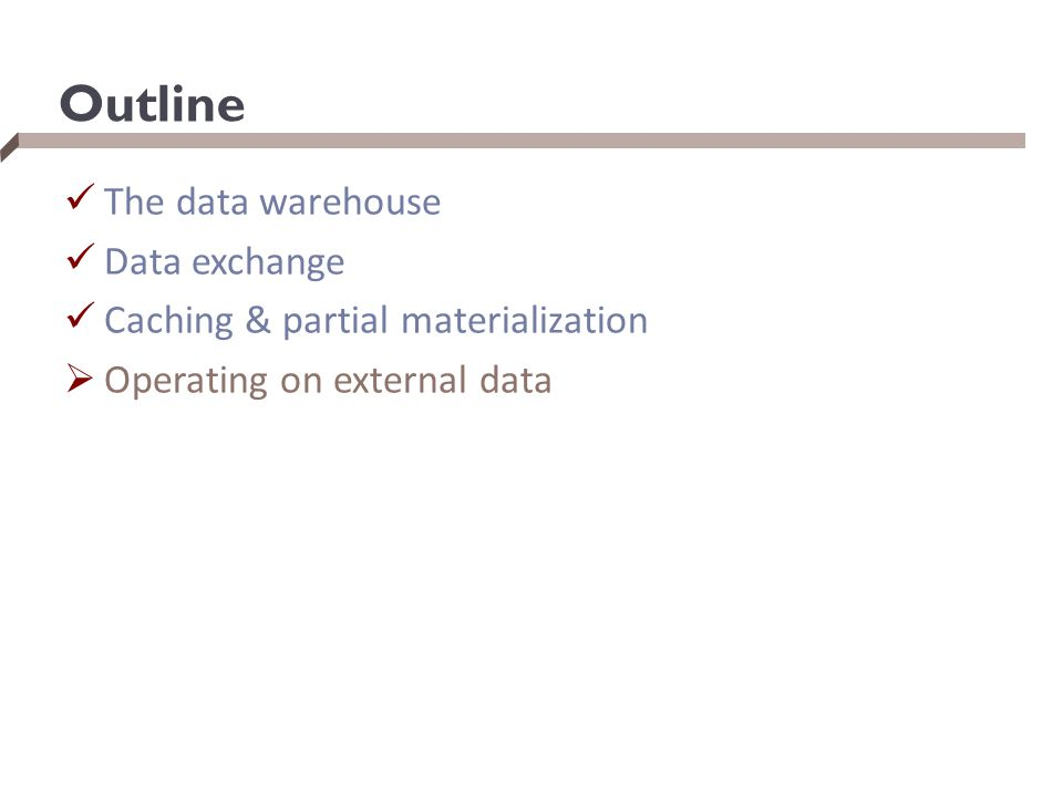 Outline The data warehouse Data exchange Caching & partial materialization  Operating on external data