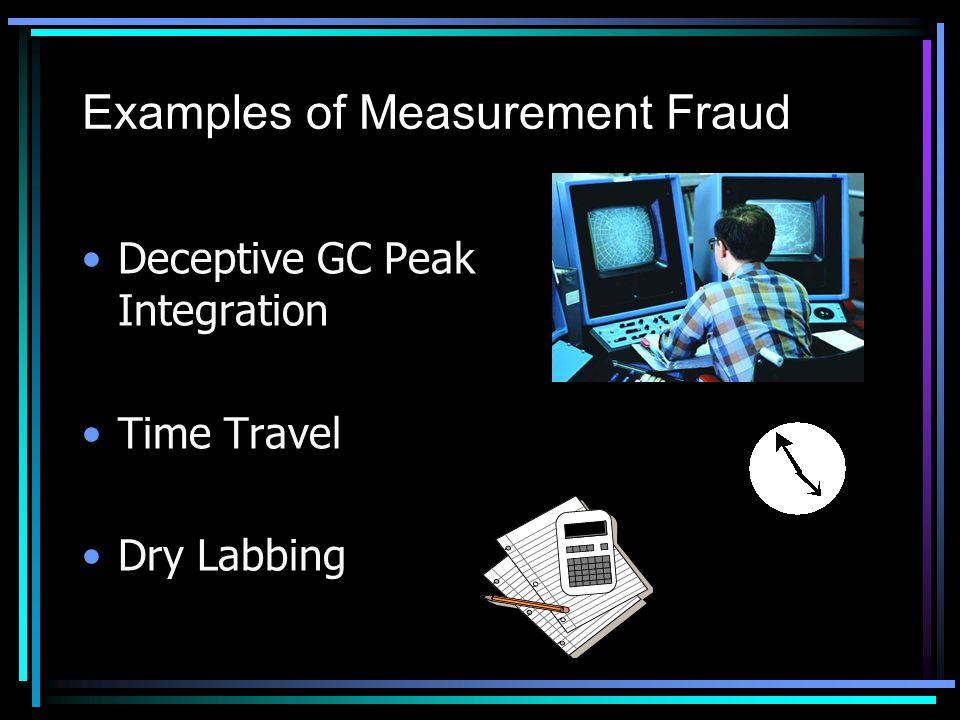 Examples of Measurement Fraud Deceptive GC Peak Integration Time Travel Dry Labbing