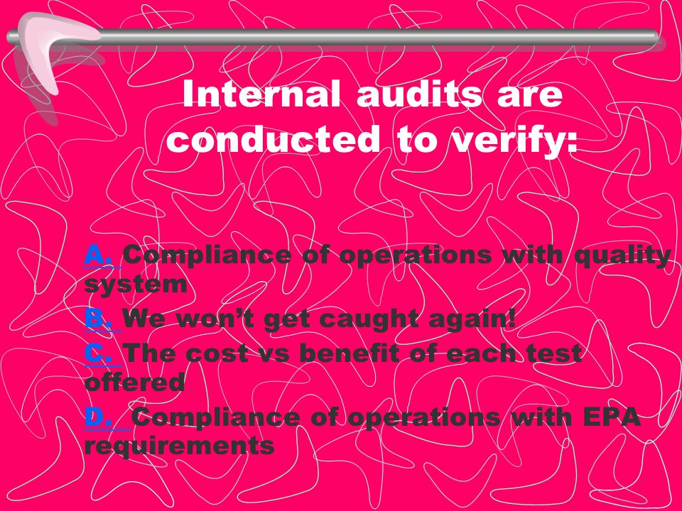 Internal audits are conducted to verify: A.A. Compliance of operations with quality system B.