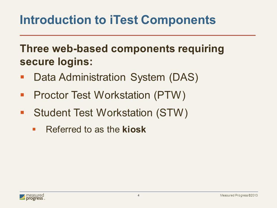 Measured Progress ©2013 4 Three web-based components requiring secure logins:  Data Administration System (DAS)  Proctor Test Workstation (PTW)  St