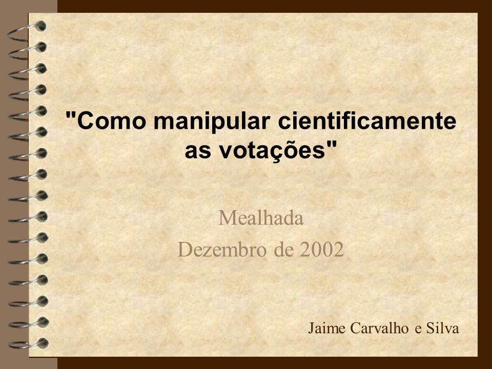 Como manipular cientificamente as votações Mealhada Dezembro de 2002 Jaime Carvalho e Silva