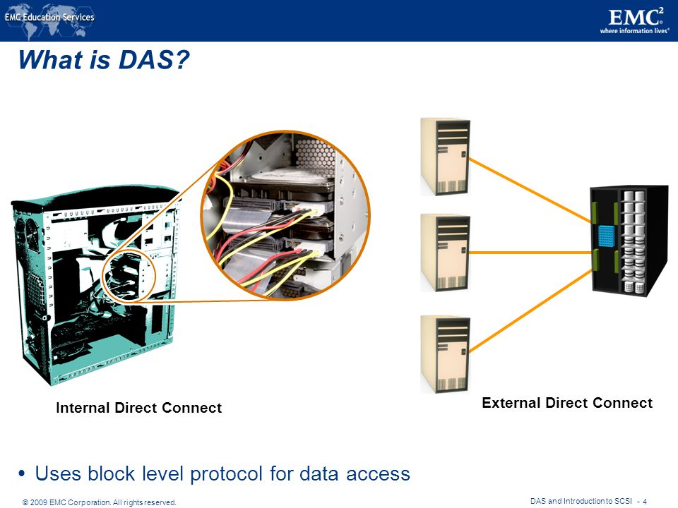 © 2009 EMC Corporation. All rights reserved. DAS and Introduction to SCSI - 4 What is DAS.