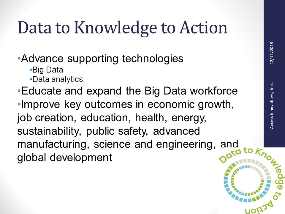 Access Innovations, Inc.. 12/11/2013 Data to Knowledge to Action Advance supporting technologies Big Data Data analytics; Educate and expand the Big D