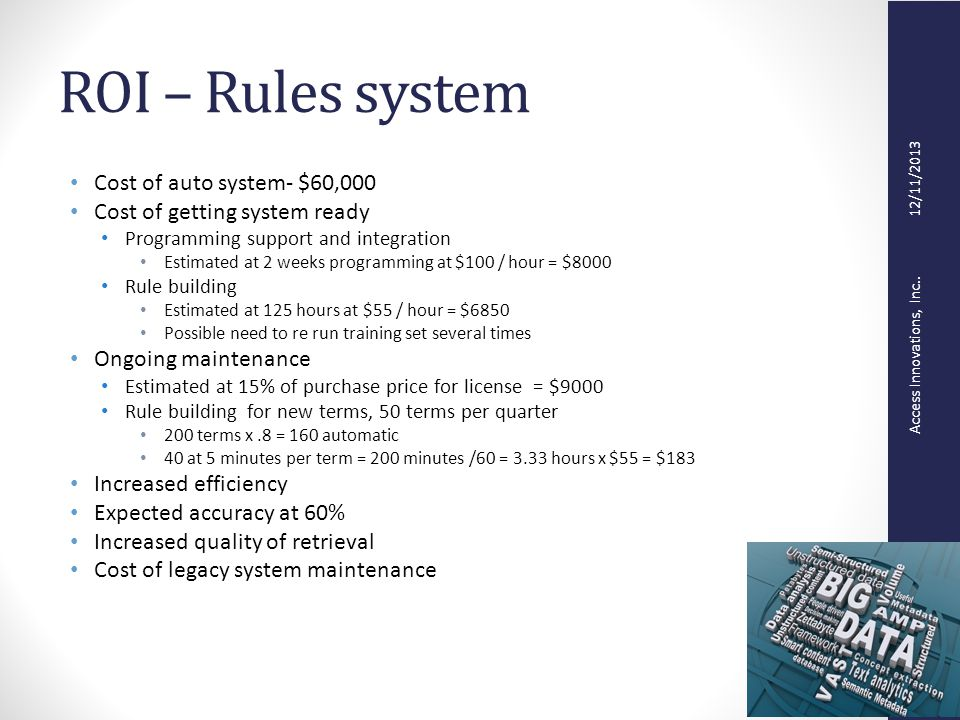 Access Innovations, Inc.. 12/11/2013 ROI – Rules system Cost of auto system- $60,000 Cost of getting system ready Programming support and integration