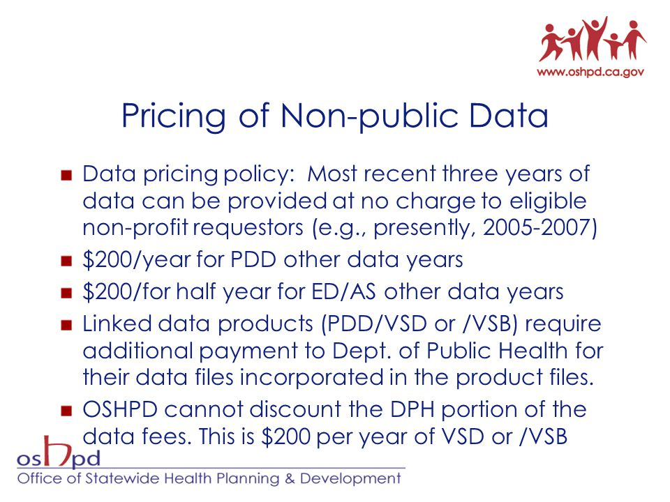 Pricing of Non-public Data Data pricing policy: Most recent three years of data can be provided at no charge to eligible non-profit requestors (e.g., presently, 2005-2007) $200/year for PDD other data years $200/for half year for ED/AS other data years Linked data products (PDD/VSD or /VSB) require additional payment to Dept.