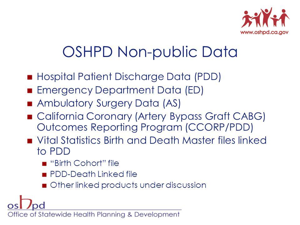 OSHPD Non-public Data Hospital Patient Discharge Data (PDD) Emergency Department Data (ED) Ambulatory Surgery Data (AS) California Coronary (Artery By