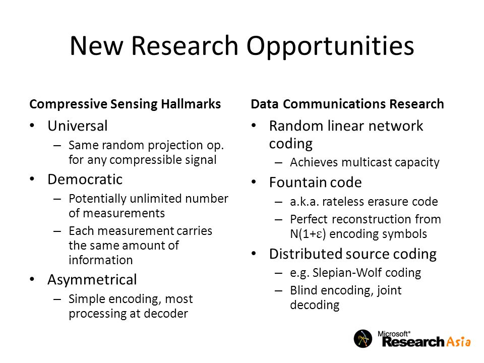 New Research Opportunities Compressive Sensing Hallmarks Universal – Same random projection op.