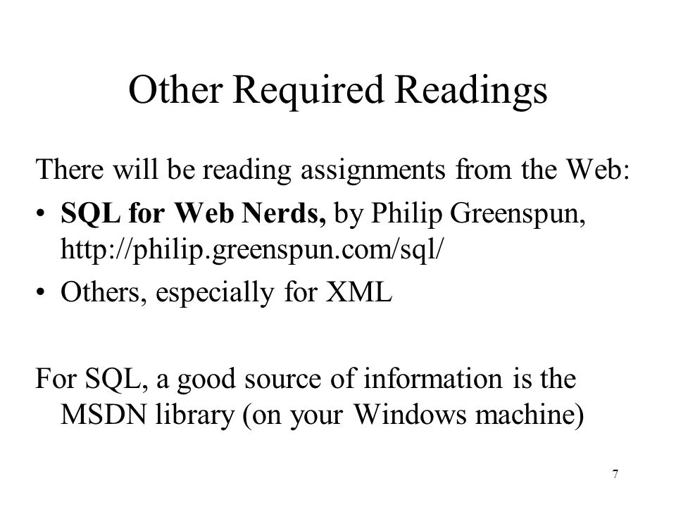 8 Outline for Today's Lecture Overview of database systems –Reading assignment for next lecture (Wednesday): from SQL for Web Nerds, by Philip Greenspun, Introduction http://philip.greenspun.com/sql/ Course Outline Structure of the course (some left for Alon)