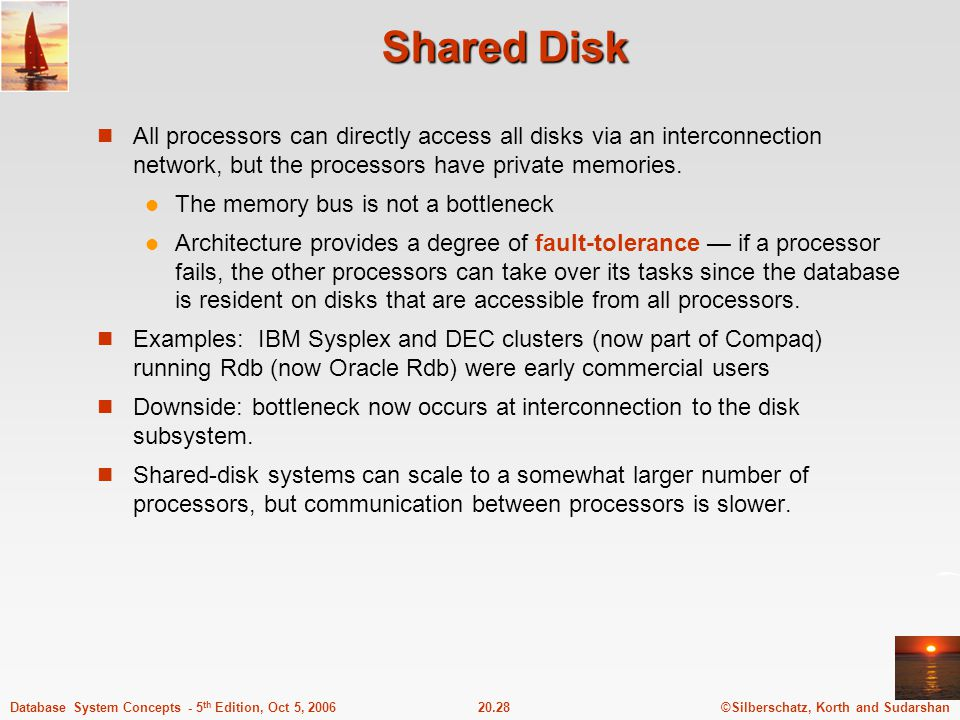 ©Silberschatz, Korth and Sudarshan20.28Database System Concepts - 5 th Edition, Oct 5, 2006 Shared Disk All processors can directly access all disks via an interconnection network, but the processors have private memories.