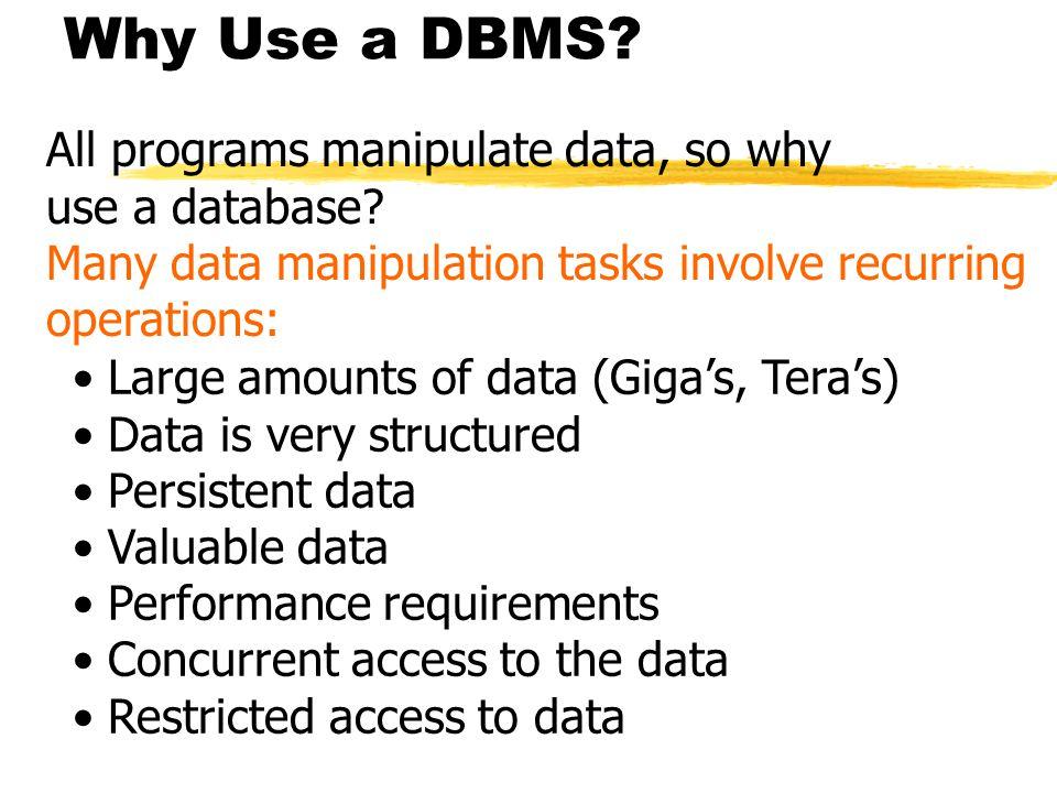 Why Use a DBMS.