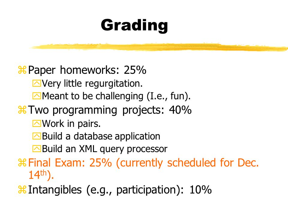 Grading zPaper homeworks: 25% yVery little regurgitation.