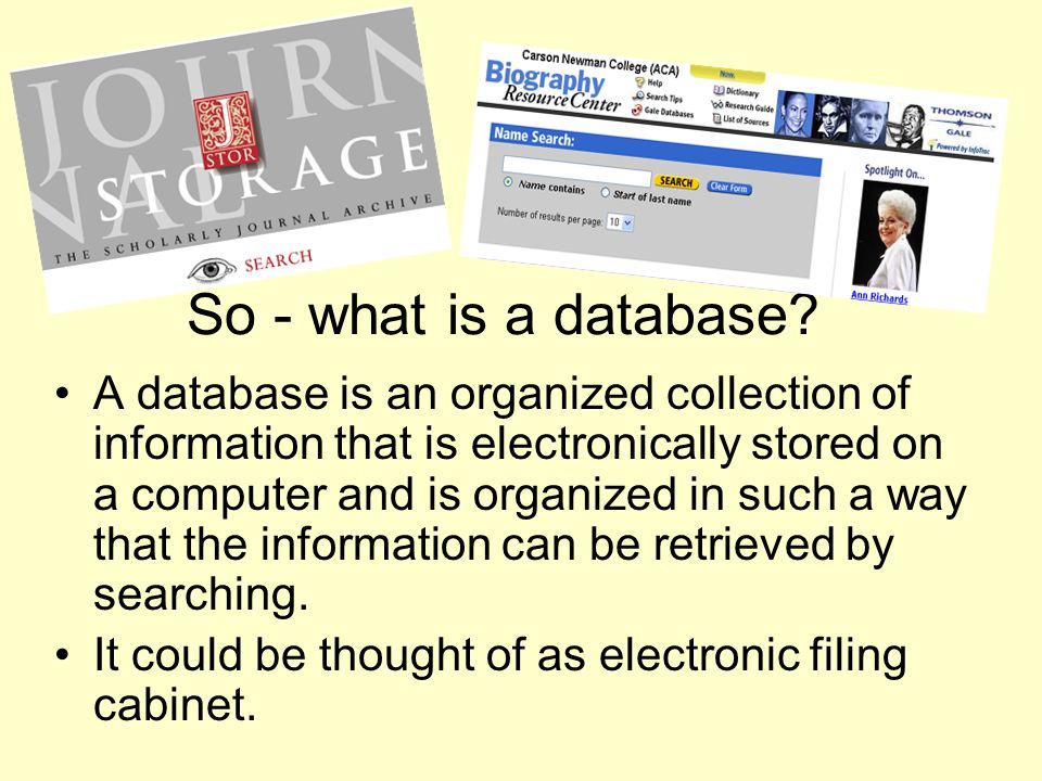 What does the insides of a database look like.