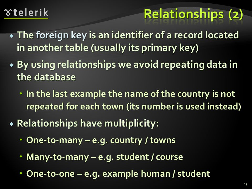  The foreign key is an identifier of a record located in another table (usually its primary key)  By using relationships we avoid repeating data in the database  In the last example the name of the country is not repeated for each town (its number is used instead)  Relationships have multiplicity:  One-to-many – e.g.