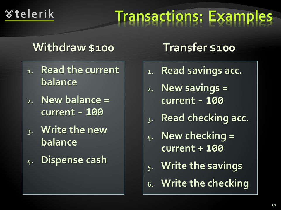 Withdraw $100 1. Read savings acc. 2. New savings = current - 100 3.