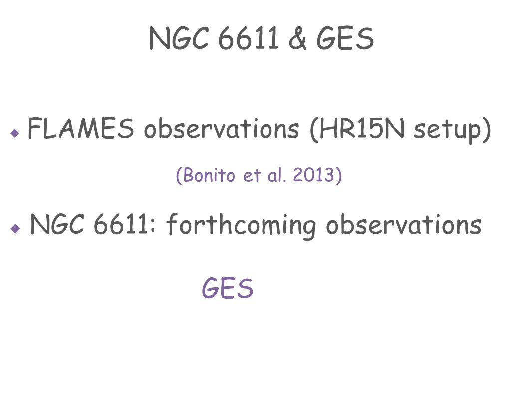  FLAMES observations (HR15N setup)  NGC 6611: forthcoming observations GES NGC 6611 & GES (Bonito et al.