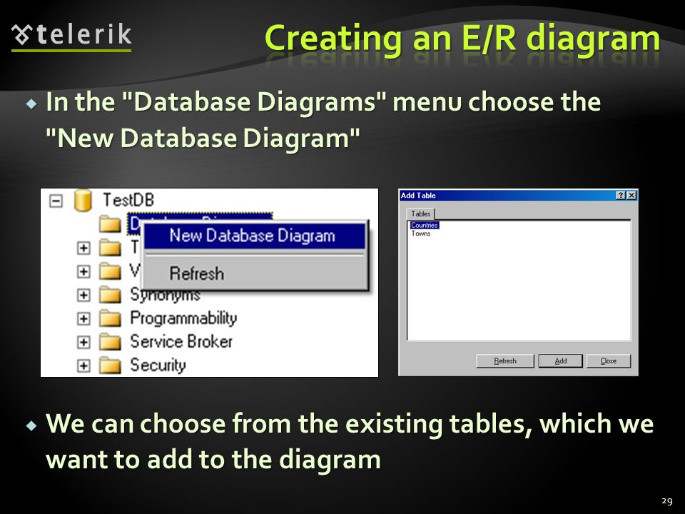  In the Database Diagrams menu choose the New Database Diagram  We can choose from the existing tables, which we want to add to the diagram 29