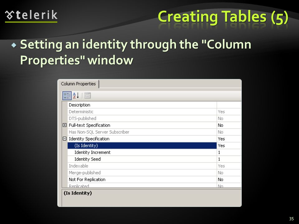  Setting an identity through the Column Properties window 35