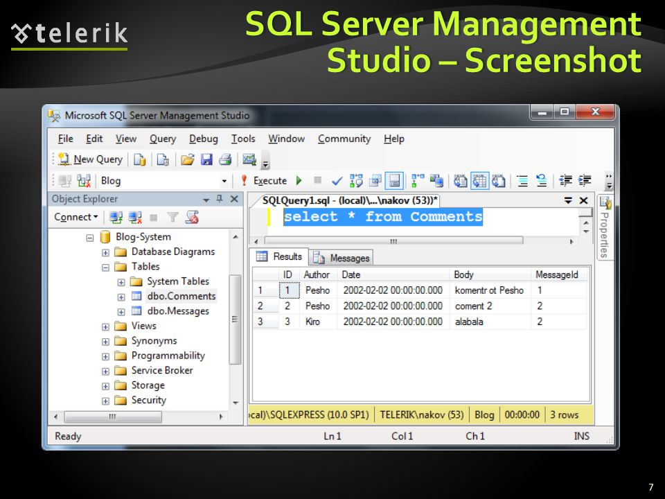 SQL Server Management Studio – Screenshot 7