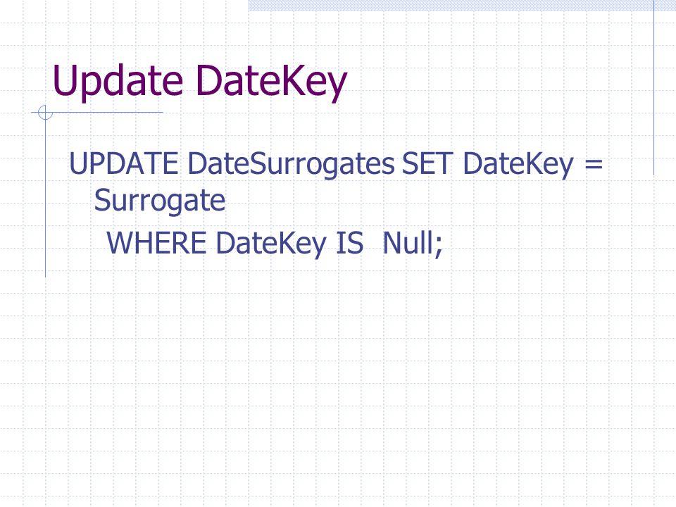 Update DateKey UPDATE DateSurrogates SET DateKey = Surrogate WHERE DateKey IS Null;