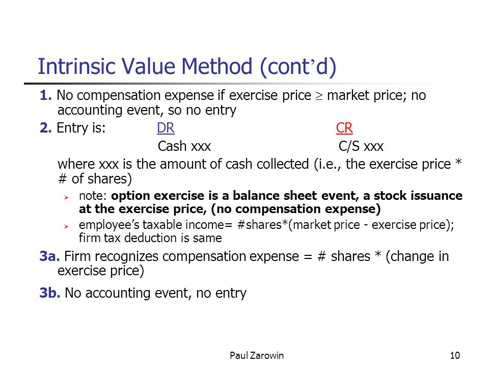 Paul Zarowin11 Intrinsic Value Method (cont ' d) key points: 1.there is no effect on NI (no compensation expense) except 3a (repricing) 2.real cost is dilution (reduction of EPS due to extra shares outstanding) or cash outflow (to repurchase shares to counteract dilution) correct exercise entry to show economic cost of options: DRCash #shares*ex price DRCompensation expense #shares (mrk price-ex price) CR C/S #shares*mkt price@exercise Ex.