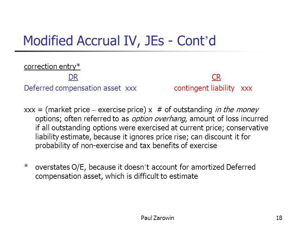 Paul Zarowin18 Modified Accrual IV, JEs - Cont ' d correction entry* DR CR Deferred compensation asset xxx contingent liability xxx xxx = (market pric