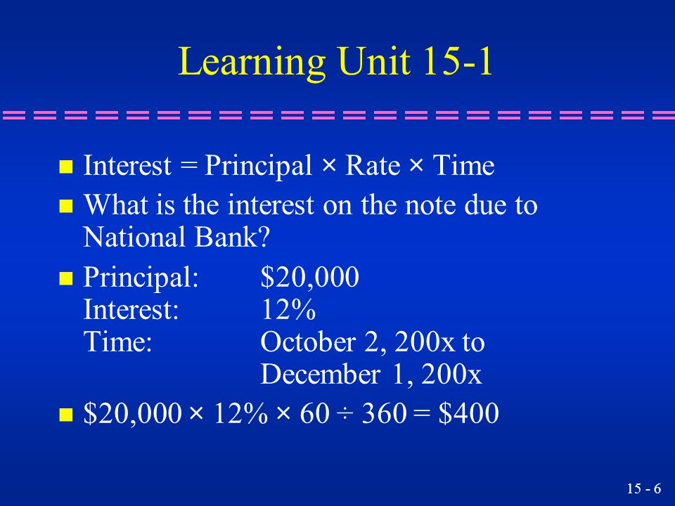 15 - 6 Learning Unit 15-1 n Interest = Principal × Rate × Time n What is the interest on the note due to National Bank.