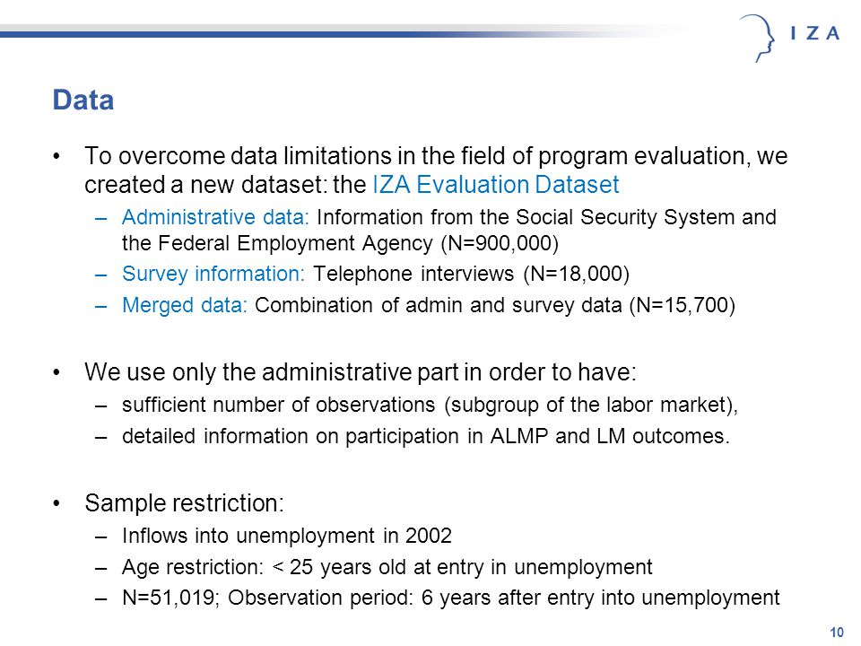 10 Data To overcome data limitations in the field of program evaluation, we created a new dataset: the IZA Evaluation Dataset –Administrative data: Information from the Social Security System and the Federal Employment Agency (N=900,000) –Survey information: Telephone interviews (N=18,000) –Merged data: Combination of admin and survey data (N=15,700) We use only the administrative part in order to have: –sufficient number of observations (subgroup of the labor market), –detailed information on participation in ALMP and LM outcomes.